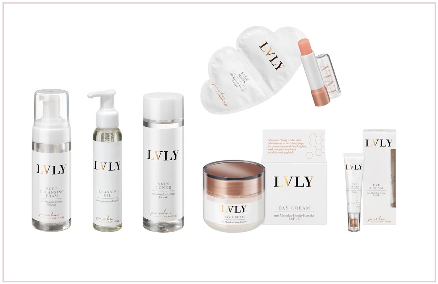 LVLY Hautpflegeprodukte auf weißem Hintergrund