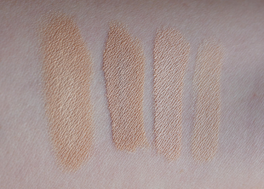 Swatches Catrice One Drop Weightless Concealer 003, Catrice Liquid Camouflage 005, NYX HD Concealer Porcelain, FAB Avocado Concealer Bone