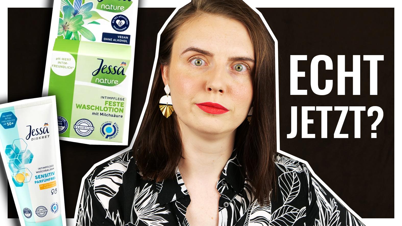 Geschockter Blick mit Produktbildern der Jessa festen Waschlotion und des Jessa Intimpflege Waschbalsams